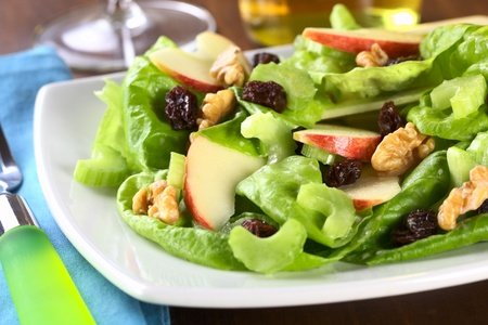 Fresh home-made delicious Waldorf Salad consisting of lettuce, apple, celery, walnuts, raisins and mayonnaise (Selective Focus, Focus on the middle of the salad)