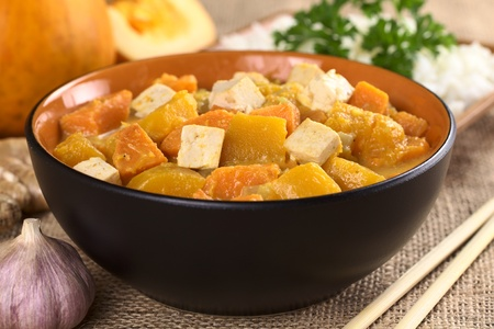 Tofu, pumpkin and sweet potato curry (Selective Focus, Focus one third into the dish on the two tofu pieces and the pumpkin piece inbetween ) photo
