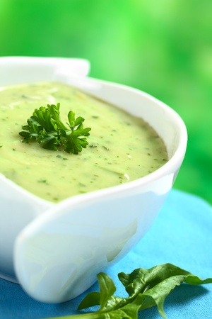 Spinach cream soup garnished with parsley and a spinach leaf lying on the side (Selective focus, Focus on the front of the parsley)