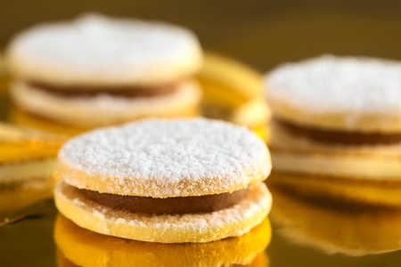 Peruvian cookies called alfajores filled with a caramel-like cream called manjar photo