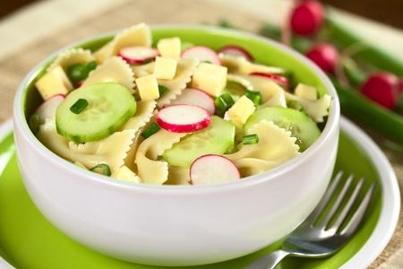 Végétarien salade de pâtes noeud papillon avec du concombre, de radis, le fromage et la ciboulette (sélective focus, Concentrez-vous sur le devant de la tranche de radis dans le milieu) Banque d'images - 11398000