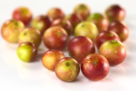 Camu camu berry fruits (lat. Myrciaria dubia) which are grown in the Amazon region and have a very high Vitamin C content (Selective Focus, Focus on the two berries in the front) Stock Photo