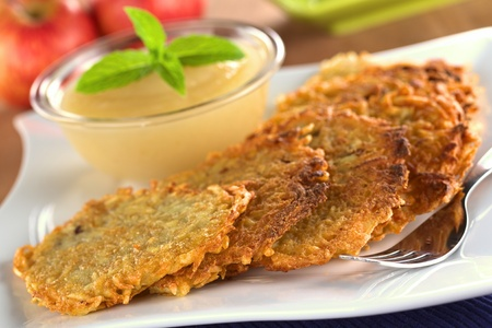 fritters: Potato fritters with apple sauce