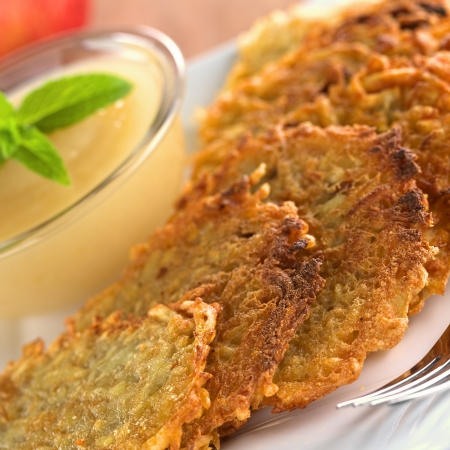 Potato fritters with apple sauce  photo