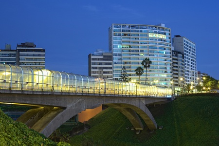 peru architecture: E. Villena Rey Bridge in Miraflores, Lima, Peru in the evening Stock Photo