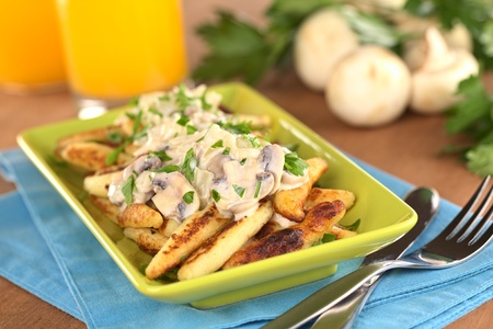 swabian: Schupfnudeln (Swabian potato noodles from Southern Germany) with mushroom sauce (Selective Focus, Focus on the front of the mushroom sauce)