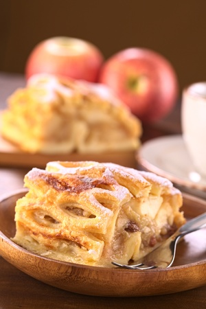 Apple strudel with raisins (Selective Focus, Focus on the right front ede of the strudel) Stock Photo - 13029206