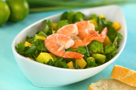 Shrimps on fresh watercress, mango, avocado salad in elongate bowl with baguette on the side (Selective Focus, Focus on the tail of the first shrimp)