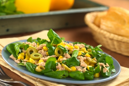 Fresh tuna, sweetcorn, green olive and watercress salad with breadbasket in the back (Selective Focus, Focus in the middle of the salad)  photo