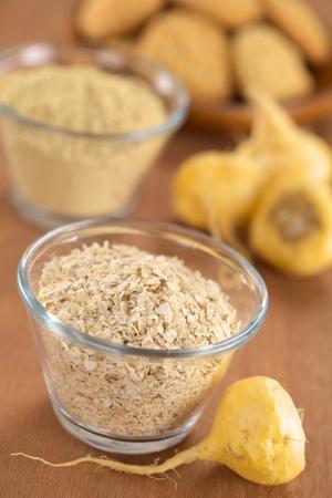 maca: Oatmeal mixed with maca or Peruvian ginseng Stock Photo