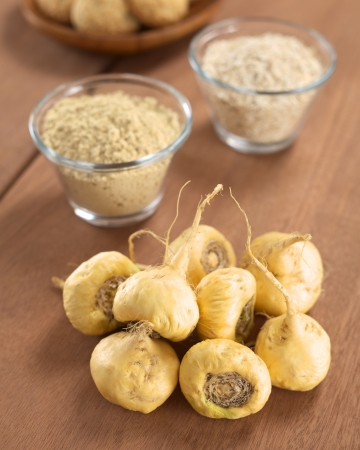 maca: Fresh maca roots or Peruvian ginseng (lat. Lepidium meyenii) which are popular in Peru for their various health effects with maca products (maca powder, oatmeal with maca, maca cookies) in the back (Selective Focus, Focus on the maca roots in the front)