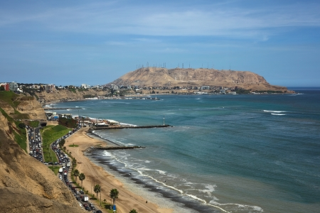 lima: Coastal view of the districts of Barranco and Chorrillos in Lima, Peru Stock Photo