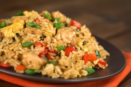 Homemade Chinese fried rice with vegetables, chicken and fried eggs served on a plate (Selective Focus, Focus one third into the dish)
