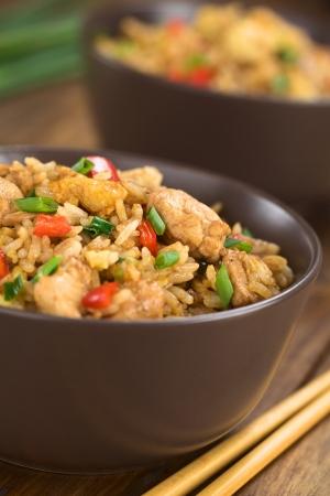arroz chino: Arroz frito chino hecho en casa con verduras, pollo y huevos fritos servidos en cuenco marrón con palillos en el lado (Enfoque, Enfoque en la parte superior del plato)