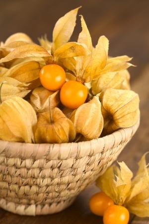 grosella: Bayas Physalis peruviana (lat. Physalis) con cáscara en la cesta (Enfoque, Enfoque en las bayas del physalis abiertos en la cesta)