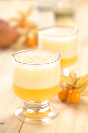 Peruvian cocktail called Aguaymanto Sour (Physalis Sour) prepared from physalis juice, pisco (Peruvian grape hard liquor), syrup and egg white (Selective Focus, Focus on the front of the glass rim and the froth)  photo