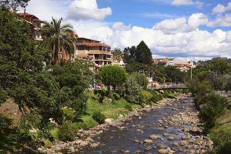 CUENCA, ECUADOR - FEBRUARY 13, 2014: View of the River Tomebamba from the bridge Puente del Centenario on February 13, 2014 in Cuenca, Ecuador