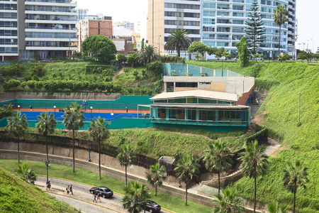 miraflores district: LIMA, PERU - MARCH 24, 2012: The tennis club Club Tennis Las Terrazas situated between the streets Bajada Balta and Malecon 28 de Julio in the district of Miraflores on March 24, 2012 in Lima, Peru. Miraflores is one of the most modern and richest distr Editorial