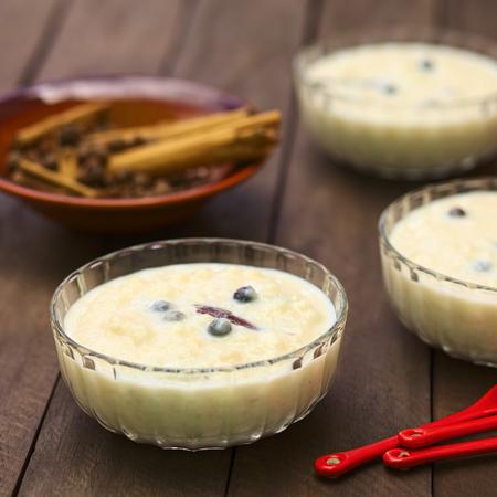 ecuadorian: Three glass bowls of the Ecuadorian dessert called morocho