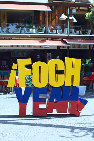 QUITO, ECUADOR - AUGUST 4, 2014: Foch Yeah sign in the Ecuadorian colors on Plaza Foch (Foch Square) at the intersection of Reina Victoria and Mariscal Foch Streets in the tourist district of La Mariscal on August 4, 2014 in Quito, Ecuador. On and around