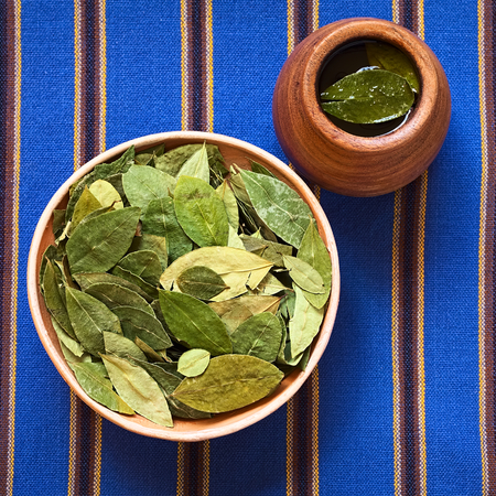 mate drink: Dried coca leaves in clay bowl with fresh coca tea (mate de coca) on the side, photographed with natural light Stock Photo