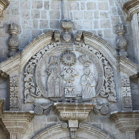 unesco world cultural heritage: AREQUIPA, PERU - AUGUST 22, 2014: Detail of the artwork on the facade of the San Francisco church and convent on Zela Street on August 22, 2014 in Arequipa, Peru. The city center of Arequipa is an UNESCO World Cultural Heritage Site.