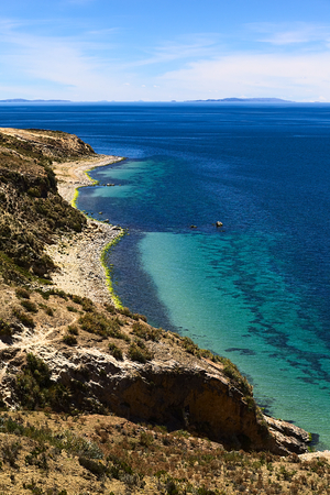 Shoreline on the northern tip of the popular travel destination Isla del Sol (Island of the Sun) in Lake Titicaca close to Copacabana in Bolivia photo