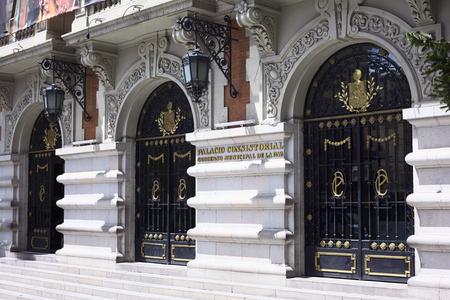 municipal editorial: LA PAZ, BOLIVIA - OCTOBER 11, 2014: The entrance of the Palacio Consistorial Gobierno Municipal de La Paz (city hall) on Mercado street in the city center on October 11, 2014 in La Paz, Bolivia