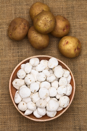 andean: Tunta, also called white chuno or moraya, is a freeze-dried (dehydrated) potato made in the Andes region, mainly Bolivia and Peru. Stock Photo