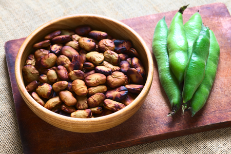 fava: Roasted broad beans (lat. Vicia faba) eaten as snack in Bolivia  Stock Photo