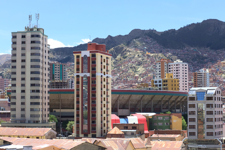miraflores district: LA PAZ, BOLIVIA - OCTOBER 12, 2014: The sports stadium Estadio Hernando Siles in the district of Miraflores, one of the highest professional stadiums in the world, on October 12, 2014 in La Paz, Bolivia