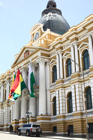 murillo: LA PAZ, BOLIVIA - OCTOBER 11, 2014: The Legislative Palace, seat of the government since 1905, on Plaza Murillo along Bolivar street in the city center of the administrative capital on October 11, 2014 in La Paz, Bolivia Editorial