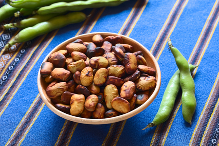 broad bean: Roasted broad beans (lat. Vicia faba) eaten as snack in Bolivia in bowl with fresh broad bean pods on the side and in the back on blue fabric, photographed with natural light (Selective Focus, Focus in the middle of the roasted beans) Stock Photo