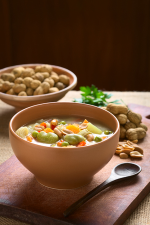 sopa: Bowl of traditional Bolivian Sopa de Mani (peanut soup) made of meat, pasta, vegetables (pea, carrot, potato, broad bean, pepper, corn) and ground peanut, photographed on wooden board with natural light (Selective Focus, Focus one third into the soup)