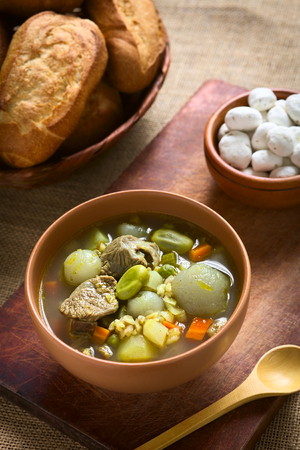 haba: Traditional Bolivian soup called Chairo de Tunta (tunta is a freeze-dried potato typical in the Andean regions) made of tunta, beef, broad beans, peas and carrots, uncooked tunta in the back, photographed with natural light (Selective Focus, Focus in the