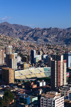 miraflores district: LA PAZ, BOLIVIA - OCTOBER 14, 2014: The sports stadium Estadio Hernando Siles in the district of Miraflores, one of the highest professional stadiums in the world, on October 14, 2014 in La Paz, Bolivia Editorial