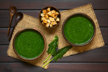fresh spinach: Fresh homemade cream of spinach soup in rustic bowls, homemade croutons, wooden spoons and fresh spinach leaves on the side, photographed overhead on dark wood with natural light Stock Photo
