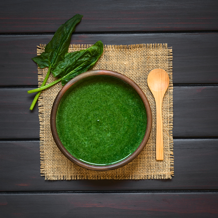 luz natural: Fresh homemade cream of spinach soup in rustic bowl, wooden spoon and fresh spinach leaves on the side, photographed overhead on dark wood with natural light Foto de archivo