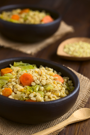 savoy cabbage: Vegan stew made of wheat grains, savoy cabbage, carrot, pumpkin and onion in rustic bowl, photographed on dark wood with natural light (Selective Focus, Focus on the carrot slice in the middle of the first dish)