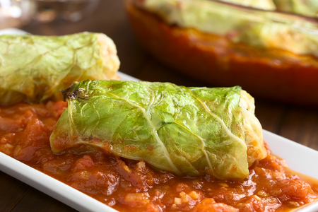 savoy cabbage: Vegetarian baked stuffed savoy cabbage roll filled with wholegrain rice, pepper, onion and carrot, served on tomato sauce on plate, photographed with natural light (Selective Focus, Focus on the front of the roll)