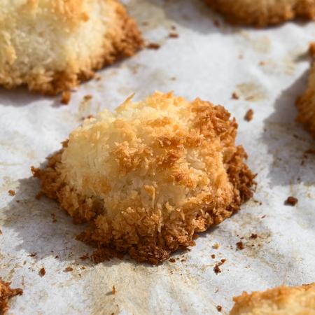 cocotier: Macaron de noix de coco fait maison (noix de coco meringue cookie), biscuit traditionnel de Noël en Allemagne appelé Kokosmakrone, photographié avec la lumière naturelle (Mise au point sélective, se concentrer sur le front de l'macaron) Banque d'images
