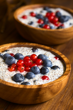 hispanica: Chia (lat. Salvia hispanica) seed pudding with blueberries and redcurrants in wooden bowl, photographed on dark wood with natural light (Selective Focus, Focus one third into the pudding)