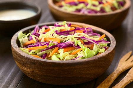 repollo: Fresh coleslaw, a salad made of shredded red and white cabbage and carrots, served in wooden bowls with sauce in the back, photographed with natural light (Selective Focus, Focus one third into the salad)