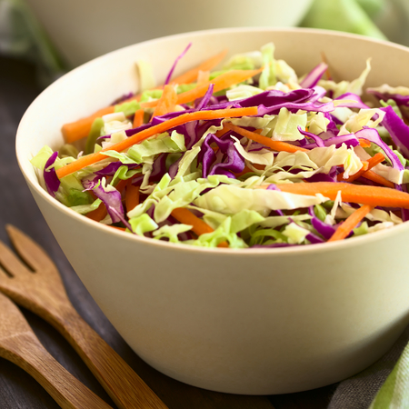 quadratic: Fresh coleslaw, a salad made of shredded red and white cabbage and carrots, served in white bowl, photographed with natural light (Selective Focus, Focus in the middle of the salad)