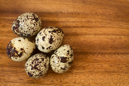 Fresh raw quail eggs on wooden plate, photographed overhead with natural light (Selective Focus, Focus on the top of the eggs)
