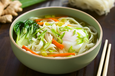 asian natural: Vegetarian Asian rice noodle soup with bok choy, carrot, spring onion and a poached egg, photographed with natural light (Selective Focus, Focus in the middle of the soup) Stock Photo