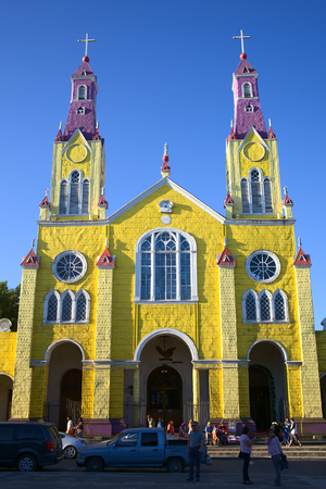 CASTRO, CHILE - FEBRUARY 5, 2016: The facade of the Church of San Francisco, which was declared UNESCO World Heritage in 2000. The church is located at the Plaza de Armas main square in the center of Castro, the capital of Chiloe Archipelago.