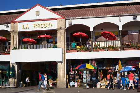 LA SERENA, CHILE - FEBRUARY 27, 2015: Unidentified people walking around La Recova municipal market in the city center on February 27, 2015 in La Serena, Chile. La Recova houses mainly artisan shops and restaurants. Editorial