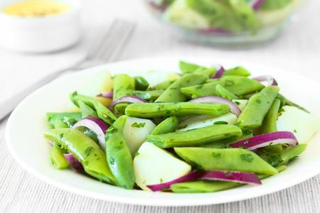 ejotes: Ensalada de frijol verde, patata y ensalada de cebolla roja con perejil, salsa holandesa en la espalda, fotografiado con luz natural (enfoque selectivo, enfoque en medio de la ensalada)
