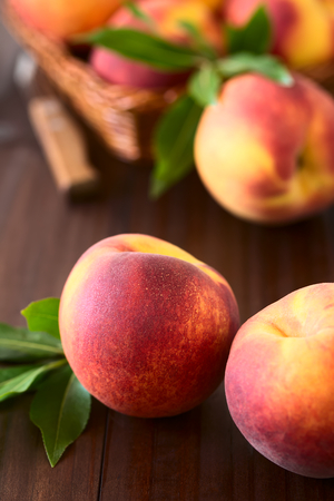 Fresh ripe peaches, photographed on dark wood with natural light (Selective Focus, Focus on the front of the front left peach)